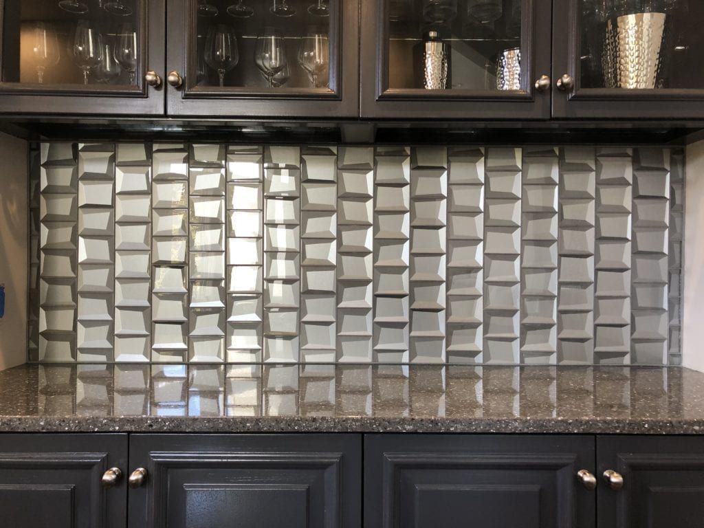 Unique glass silver tile, installation by Artistic Home Finishes
