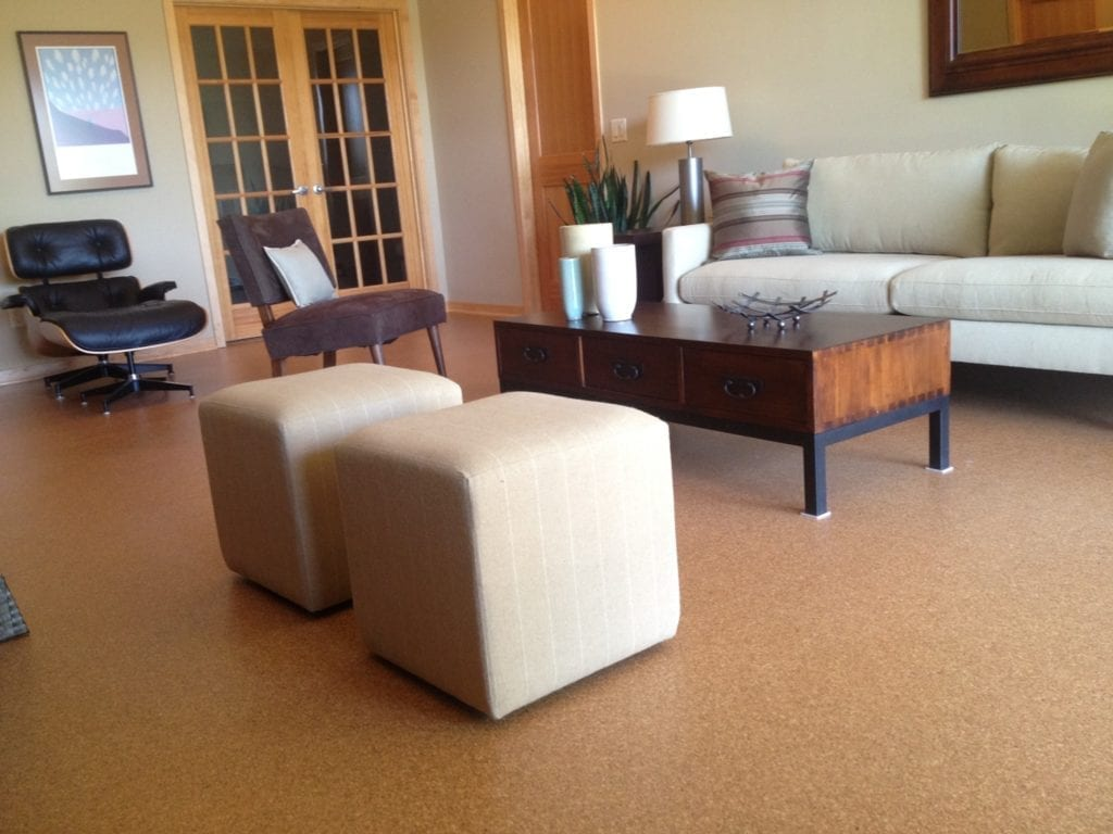 Cork flooring by Artistic Home Finishes.